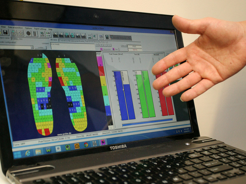 Novel Pedar-X (Inshoe Pressure Sensor and Analysis System) - The Pedar-x allows us to place a sensor inside a persons shoe and measure the ground reaction forces in real time. This may involve someone running on a treadmill with their orthotics in situ, or riding their bike on our trainer to see where the peak loading forces are ( if they are fully loading the 1st MPJ). Any application where that data is relevant, we can measure it.