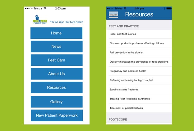 A few screenshots from the Hinkler Podiatry App