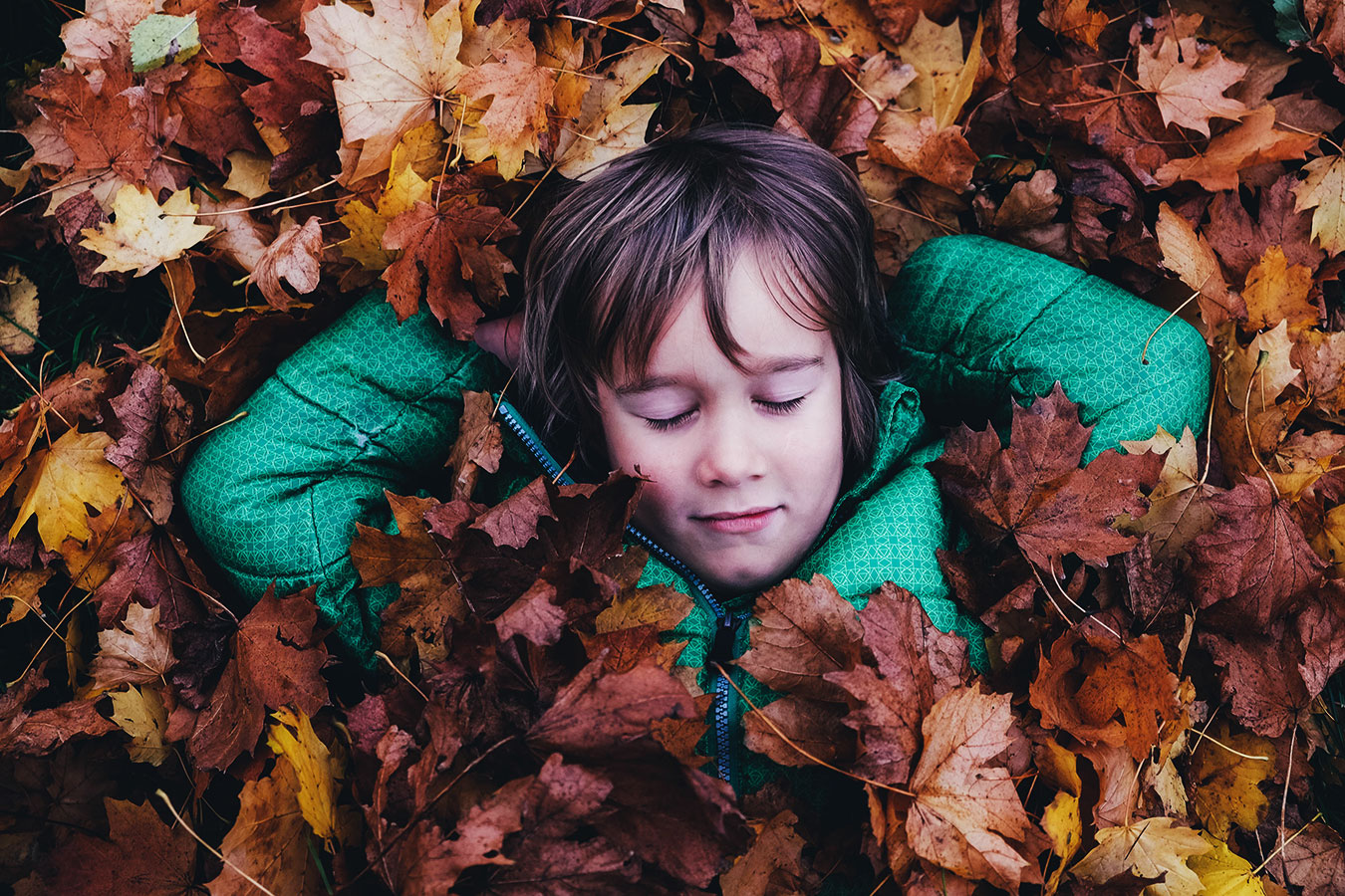 A boy laying in dried leaves.